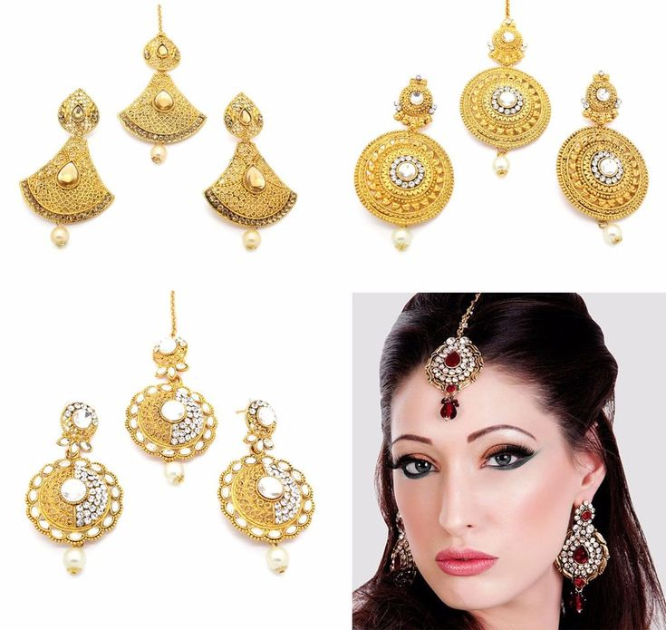 DIAMANTE INDIAN HEAD HAIR TIKKA HEADPIECE & EARRINGS SET JHUMAR POLKI KUNDAN