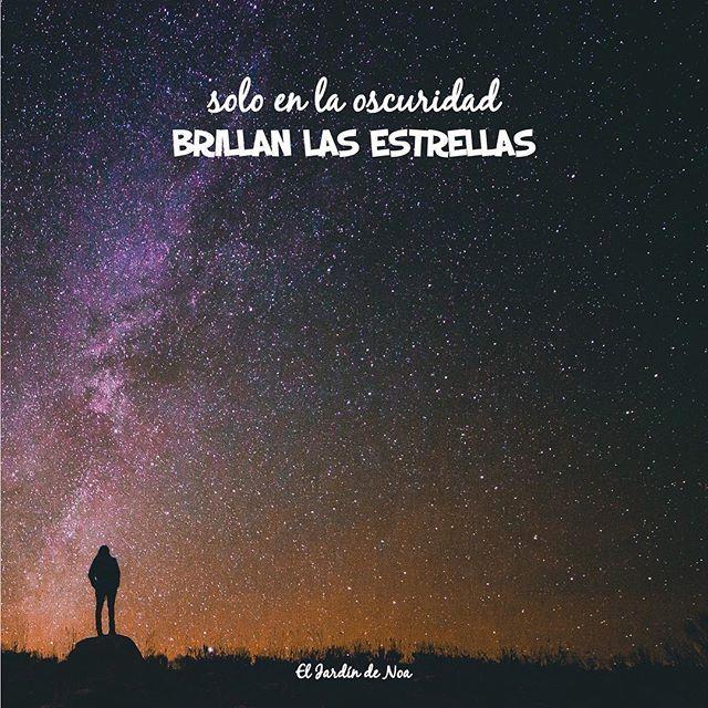 ✨Solo en la oscuridad brillan las estrellas. Por eso no te apagues por muy negro que todo parezca. ✨ #ElJardinDeNoa #FrasesBonitas