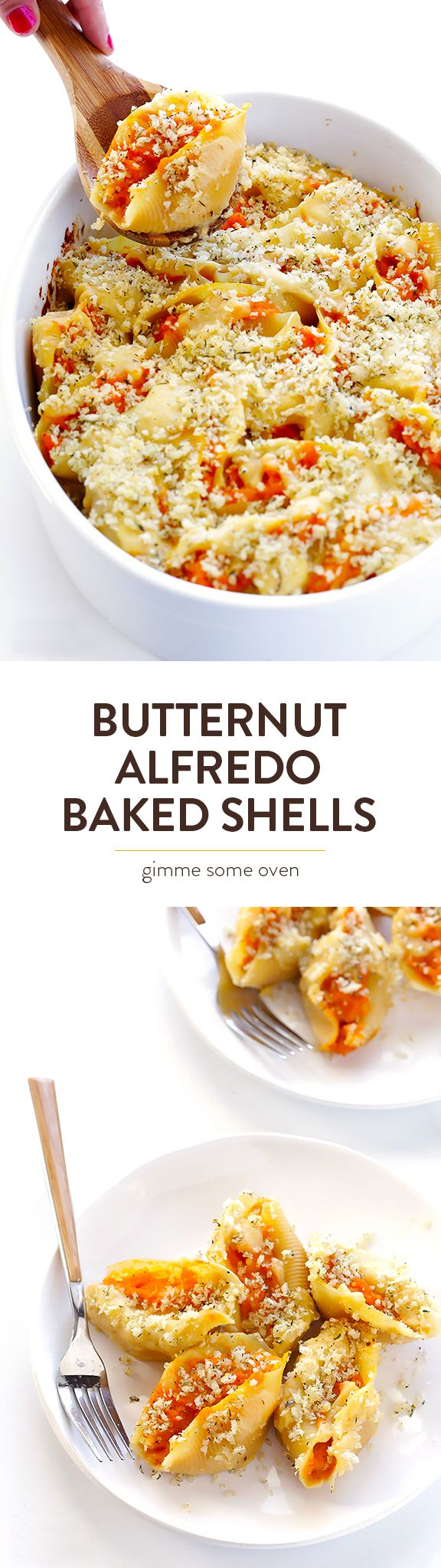 This recipe for Butternut Squash Alfredo Baked Shells is the perfect comfort food for fall, and so delicious | gimmesomeoven.com