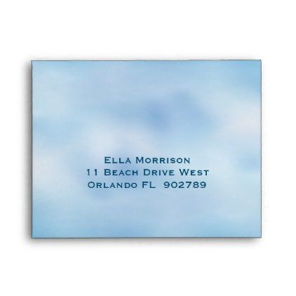 Watercolor Sandy Toes RSVP Envelope blue & yellow - personalize gift idea special custom diy or cyo
