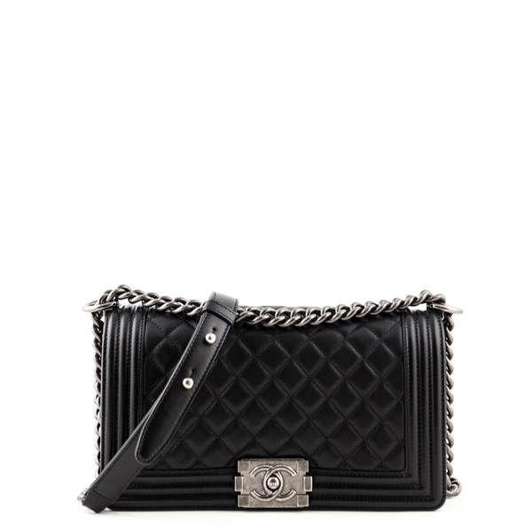 Chanel Black Calfskin Old Medium Boy Bag Love That Bag