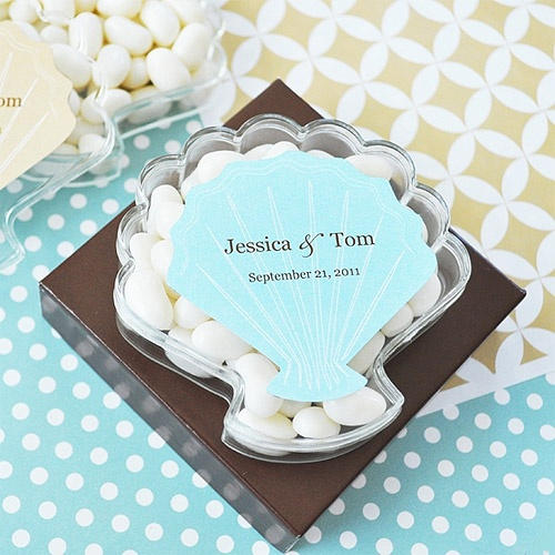 Seashell Shaped Favor Boxes With Personalized Seashell Labels 175