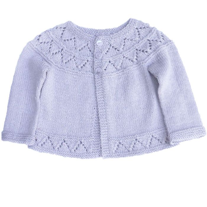Bamboo/wool  cardigan with lace yoke to fit 2 - 3 year old
