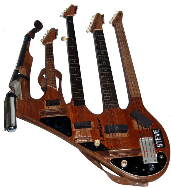 Bass, guitar, mandolin, banjo, violin and harmonica!    This is rather crazy, but we like it.
