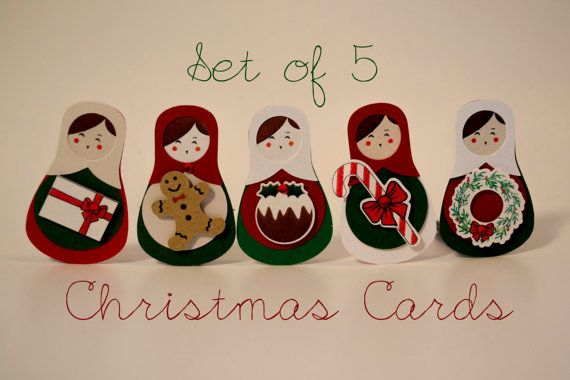 Unique set of 5 Christmas cards/Russian Doll, Matryoshka with candy cane, gingerbred man, gift, pudding, wreath, / 3D paper cut/ Kraft paper