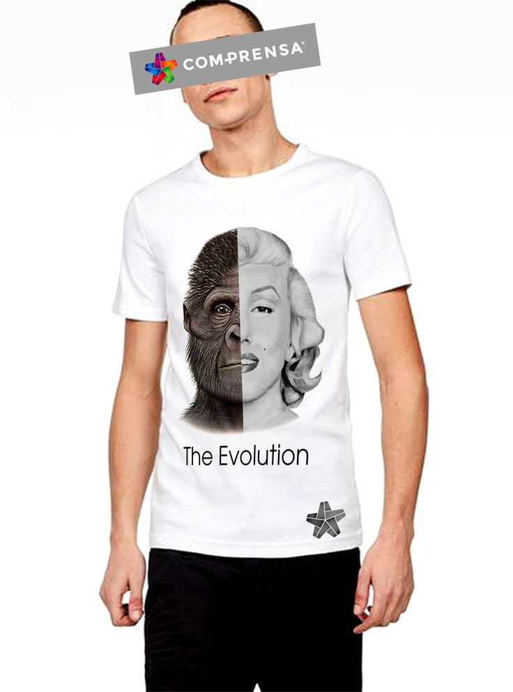 """White t shirt with the print """" THE EVOLUTION"""" 100 % cotton , featuring a round neck, short sleeves and a straight hem from Com-Prensa.  #comprensa #model #fashion #manufacturer #design #company #textile #portugal #jersey #fleece #cotton #bio #sublimation #screenprinting #digitalprint #laser #photoprint"""