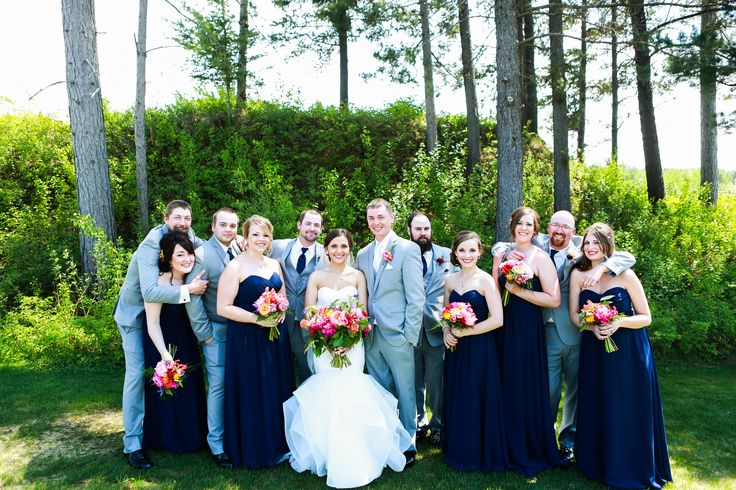 Bridal party in navy blue and gray