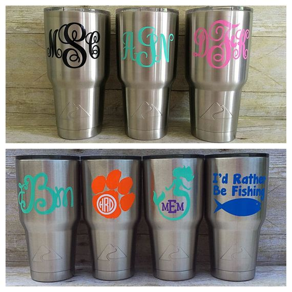 Monogram tumbler stainless tumbler personalized tumbler monogram cup tumbler with decal custom tumbler with decal stainless custom cup
