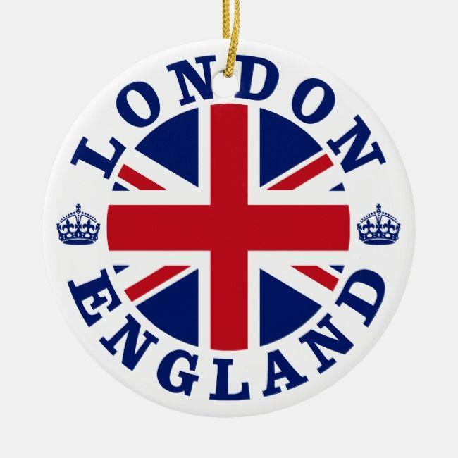 London England British Flag Roundel Ceramic Ornament Zazzle Com In 2020 London England London Travel Stamp