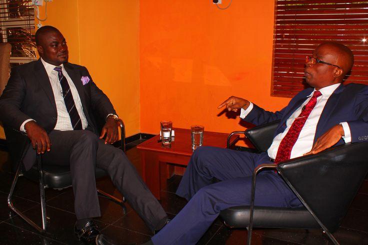 Femi Ipadeola (Host) and Abeeb Olamitoye during the recording of Enterprise700 TV interview Programme