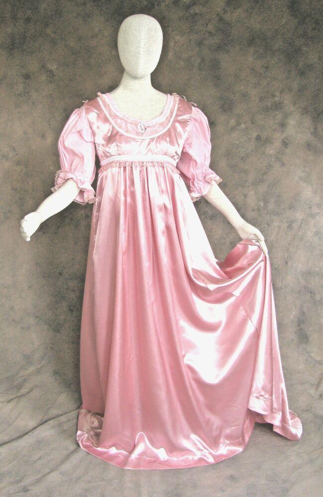 Ivory Regency Jane Austen Style 2 Piece Satin Ball Gown Costume XL//1X Cosplay