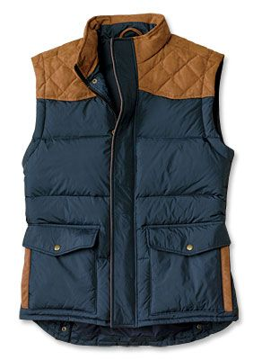 Fancy - Men's Quilted Down Vest / Waxed Sheridan Vest -- Orvis