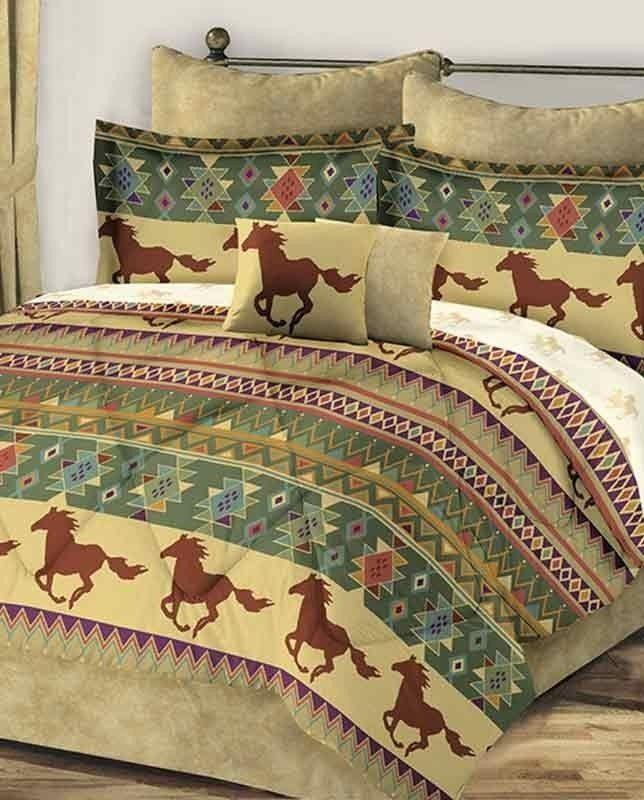 Western Horses Southwest Aztec Brown Queen Comforter Set  8 Piece Bed In A  Bag. 28 best Bedding images on Pinterest   Western bedrooms  Bedding