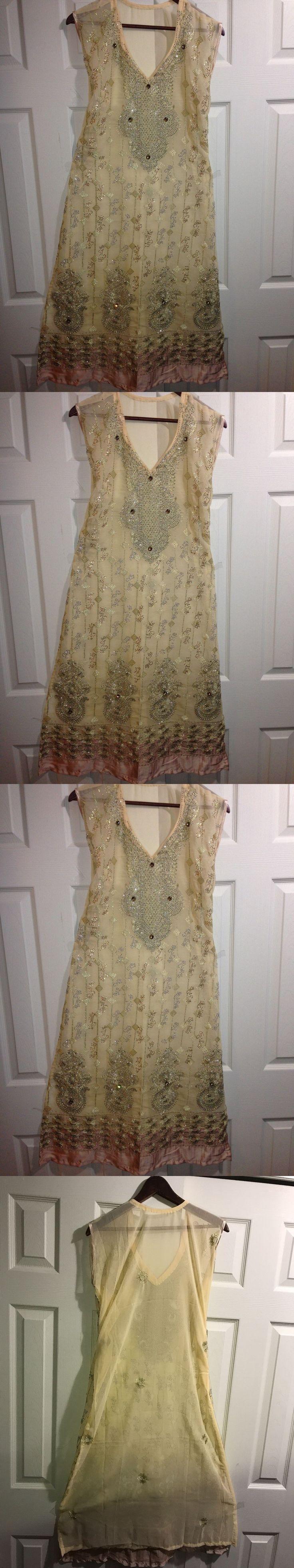 Salwar Kameez 155249: New Shalwar Kameez Cream Party Wedding Ethnic Fashion Wear Embroidery Size M -> BUY IT NOW ONLY: $45 on eBay!