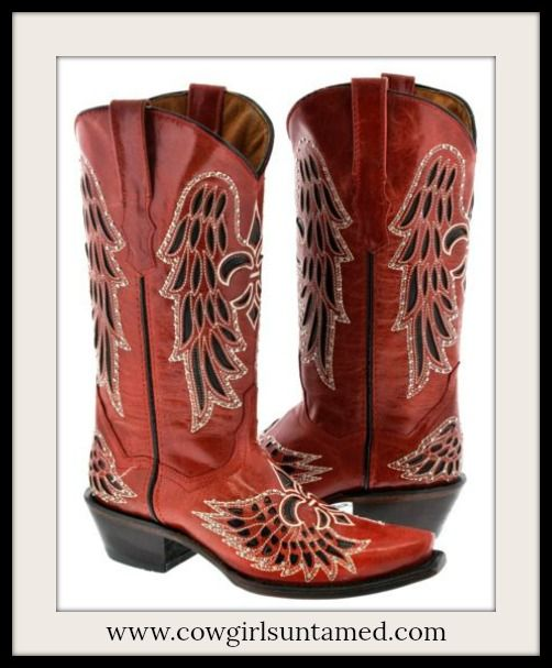 RODEO REBEL BOOTS Red and Black Embroidered Fleur De Lis Rhinestone Studded Cowgirl Boots  #NFR #rodeo #barrelracing #fleurdelis #rhinestone #studded #angelwing #cowgirlboots #boots #genuineleather #western #inlay #cowgirl #ridingboots #horse