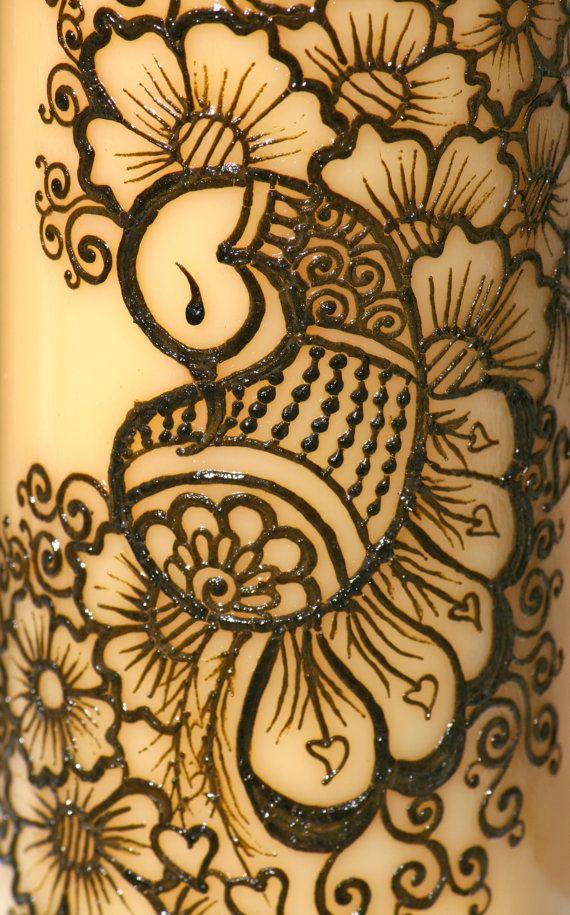 Mehndi Tattoo Peacock : Henna peacock candle yellow pillar intricate
