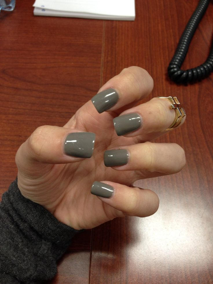 Real nails this time instead of acrylics!! Love the dark grey color too!!