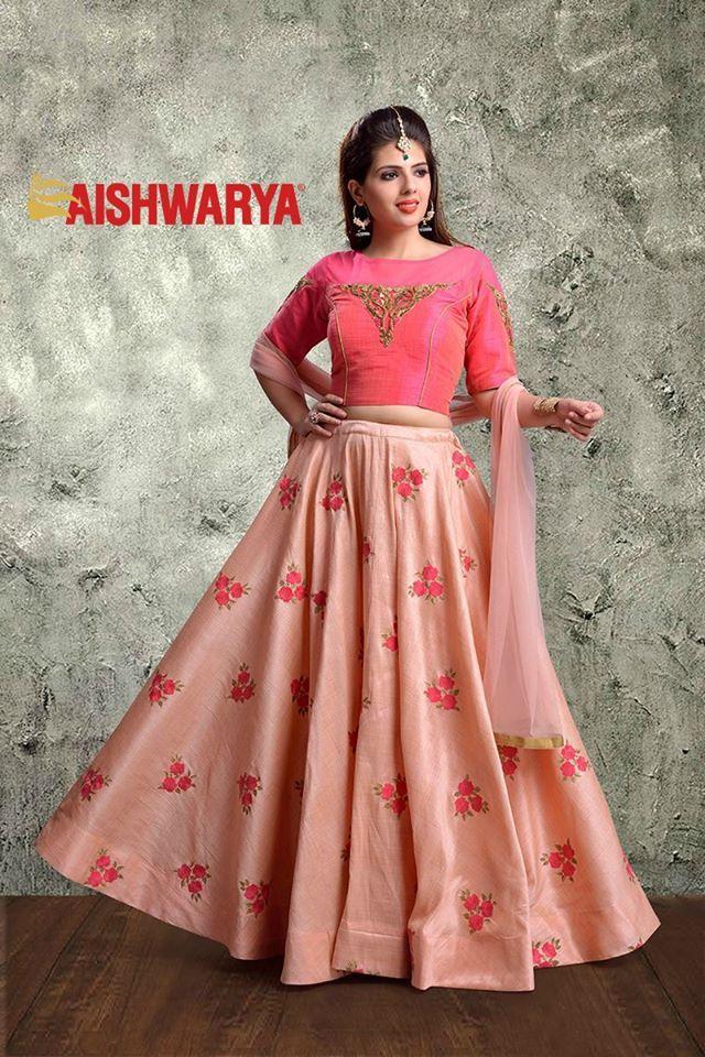 Go classy with this incredible pink and peach #lehenga. Buy Lehenga choli online - http://www.aishwaryadesignstudio.com/captivating-pink-peach-lehenga-choli