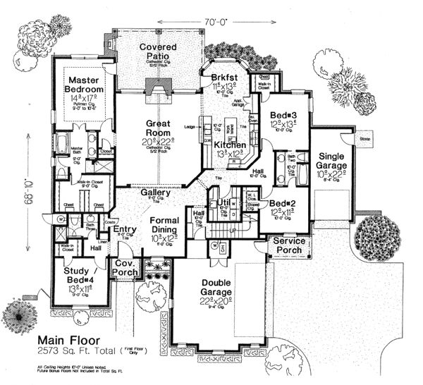 floor plans 1 story french country home with 4 bedrooms 3 bathrooms and total square feet - Utility Bath House Plans