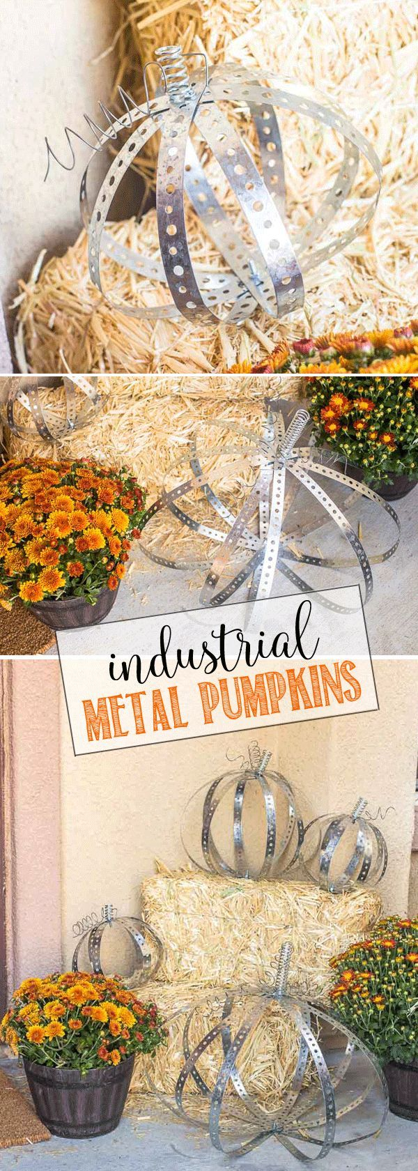 Cutest DIY Industrial Metal Pumpkins perfect for