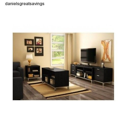 Living room set black oak wood storage media entertainment center tv