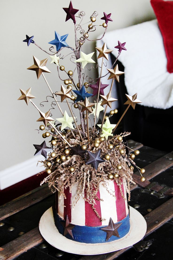 I needed a centerpiece & couldn't find anything other than flags so I made my own 4th of July crafts! I customized it how I wanted & it was inexpensive!