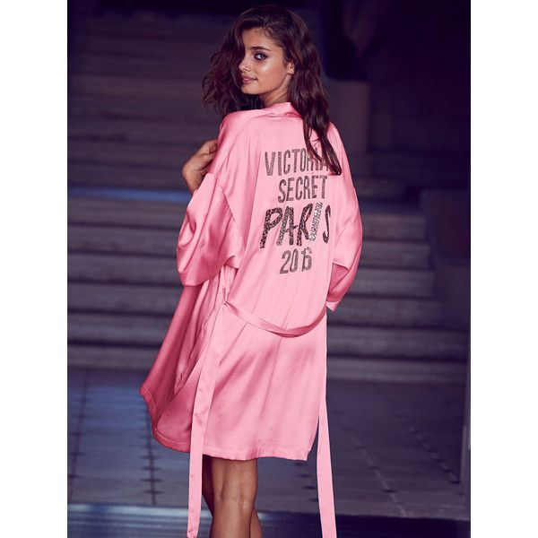 Victoria's Secret Fashion Show Wrap ($148) ❤ liked on Polyvore featuring intimates, robes, pink, pink kimono, bath robes, kimono bath robe, kimono bathrobe and victoria secret robe