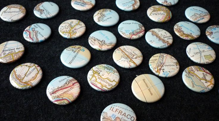 A series of 25mm button badges cut from an Ordnance Survey map of the north Devon coastline (including Exmoor and South West Coast Path). Stocked by Everything Westward: http://everythingwestward.co.uk/