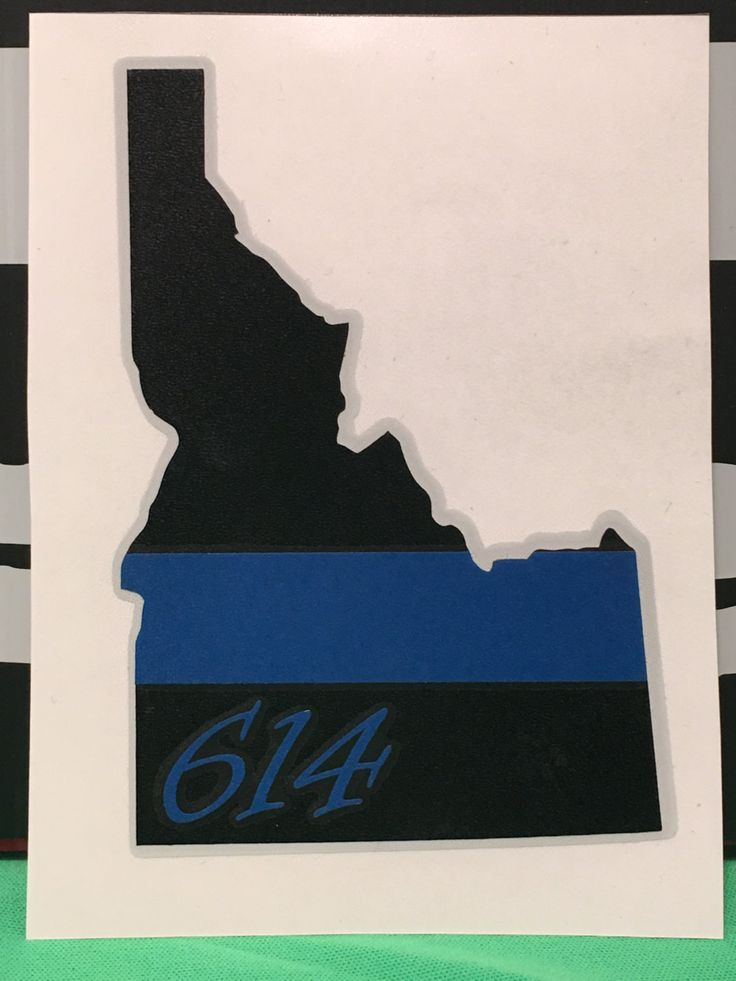 Thin blue line state decal, police thin blue line, sheriff thin blue line, state shape, state shape thin blue line decal, custom decal by IdahoEmbroidery on Etsy