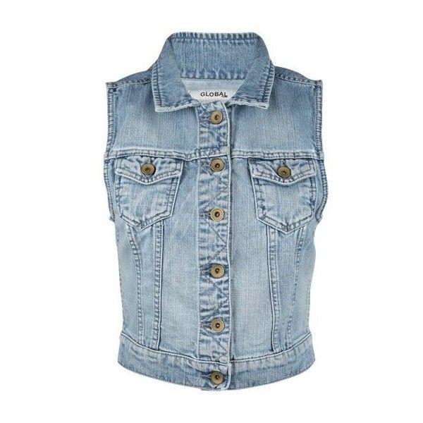 Global Funk Jakker DENIM VEST Denim DKK 400,- ❤ liked on Polyvore featuring outerwear, vests, jackets, tops, shirts, blue vest, blue denim vest, vest waistcoat, denim vest and harness vest