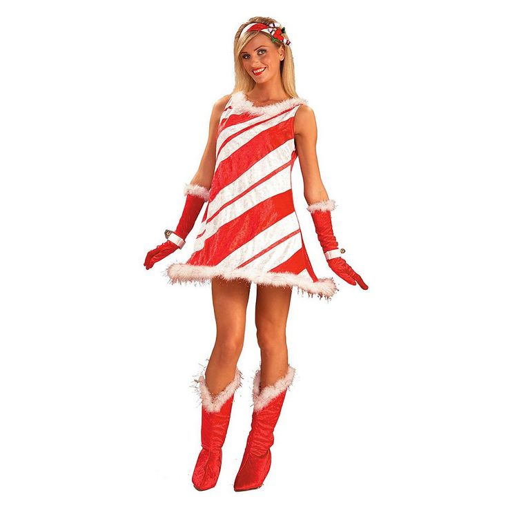 Adult Miss Candy Cane Costume, Women's, Red