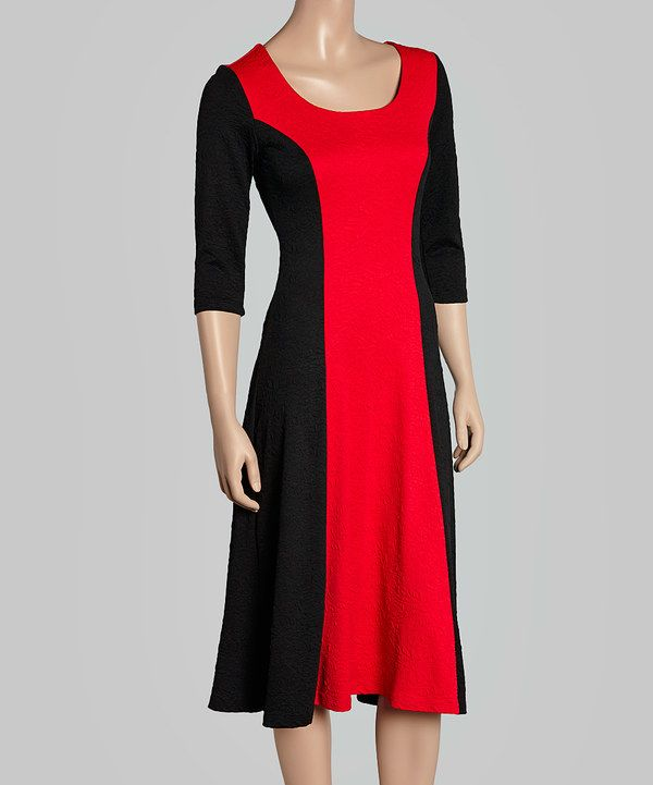 Look at this Avital Red & Black Color Block Scoop Neck Dress on #zulily today!
