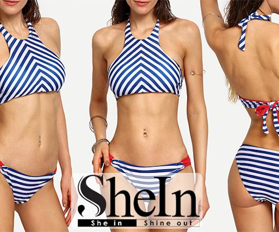 Take a look at the Chevron Print Racer Front Bikini Set by SheIn!  ----------------- #bikinis #bathingsuits #bikini #swimwear #swimsuits #swimsuit