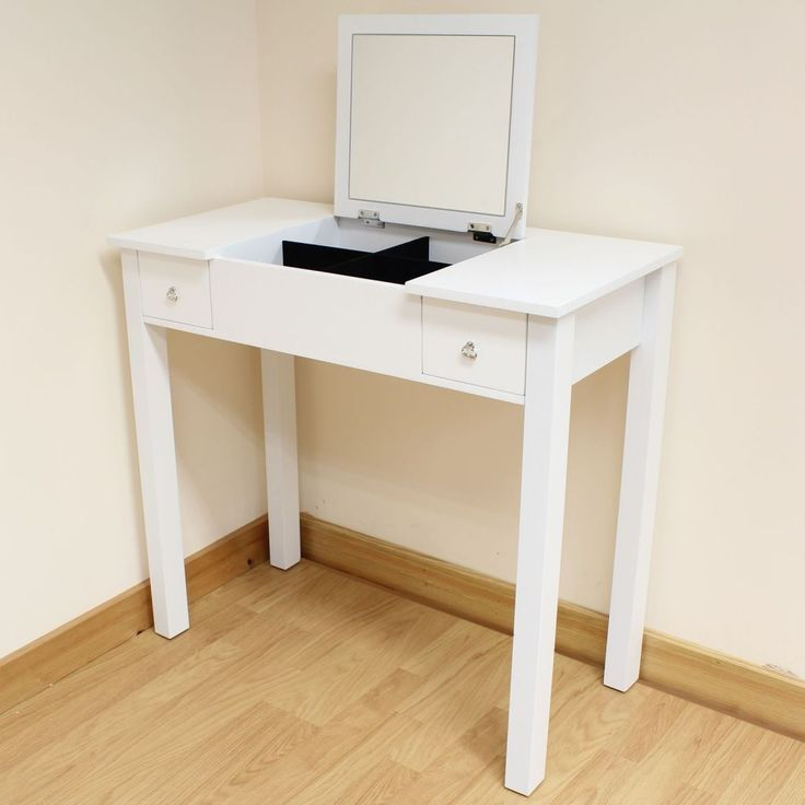 Bedroom Vanity Set, White Dressing Table With Fold Down Mirror