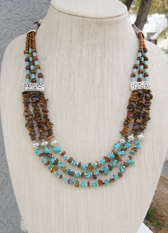 Turquoise and Tiger eye gemstone Jewelry Turquoise Necklace