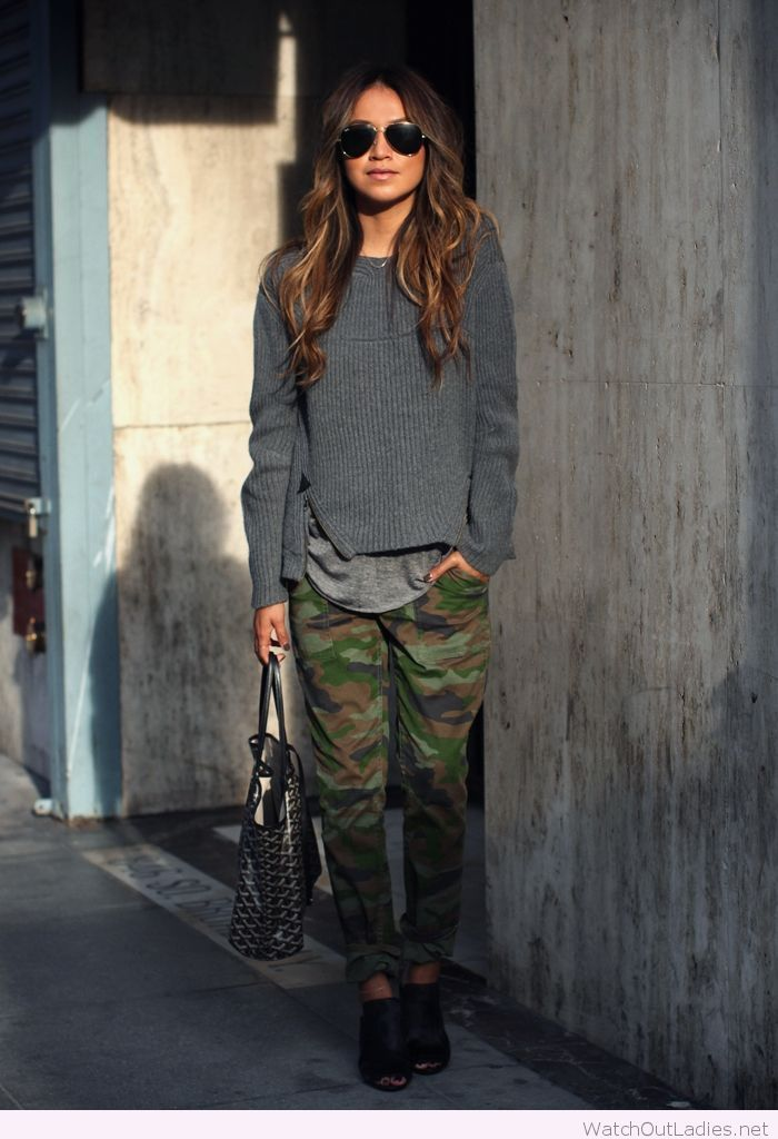 Camo pants and grey blouses