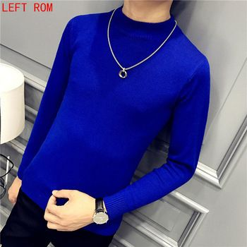 New Winter 2017 Fashion Brand Men Long Sleeve Male Knit Bottoming Semi-high Collar Neck Solid 7 Color Mens Pullover Sweaters  Price: 0.35 USD