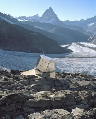 Monte Rosa Hutte.... with the Matterhorn view in the back...