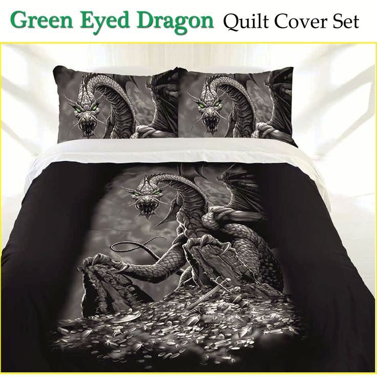 36 best black quilt covers set collection images on pinterest 34 green eyed dragon quilt cover set by just home ccuart Choice Image