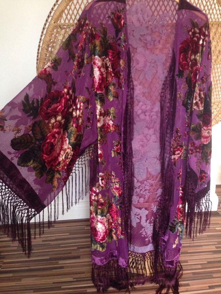Velvet Florals and vines in shades of Red,pink,oranges,browns,Golds and Greens on a sheer devore Kimono Jacket. Pretty purple fringe Kimono jacket. Will fit upto a uk size 8-18,this jacket is a free size so no closure,hangs Beautifully. | eBay!