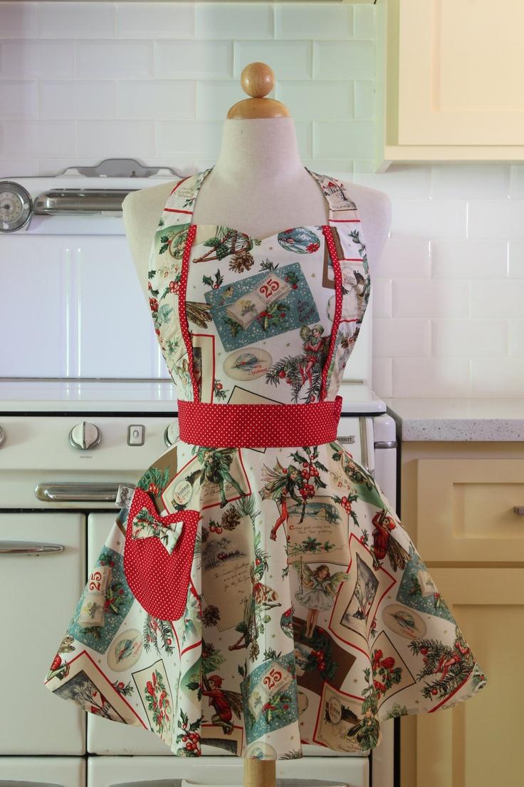 White apron project - Retro Christmas Apron With Fairies On White
