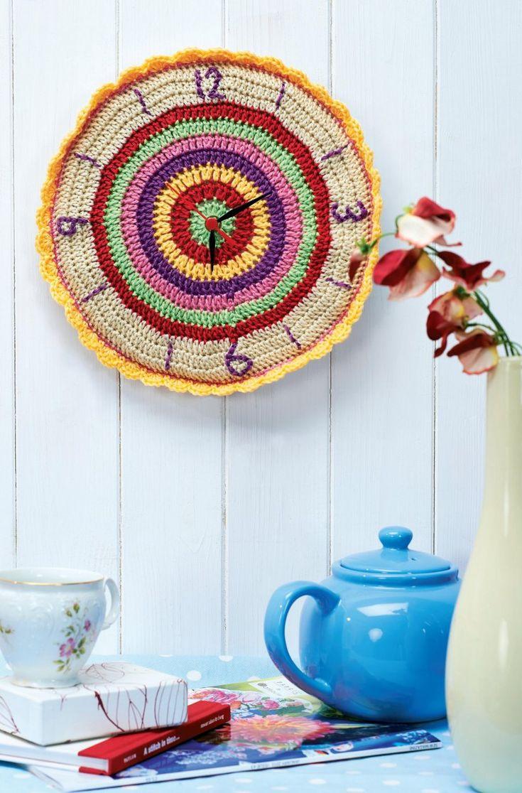 crocheted clock