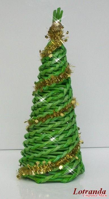 Новогоднее плетение из газет. ЕЛОЧКИ и АНГЕЛЫ - Страна Мам