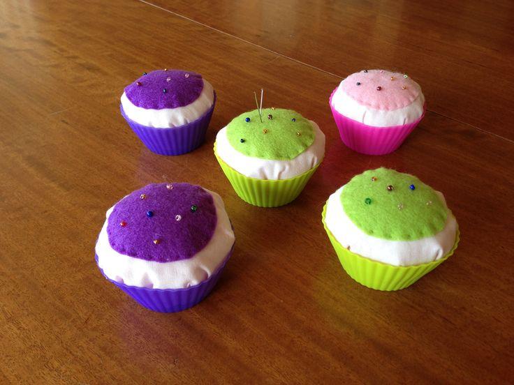 Fabric cupcake pincushions