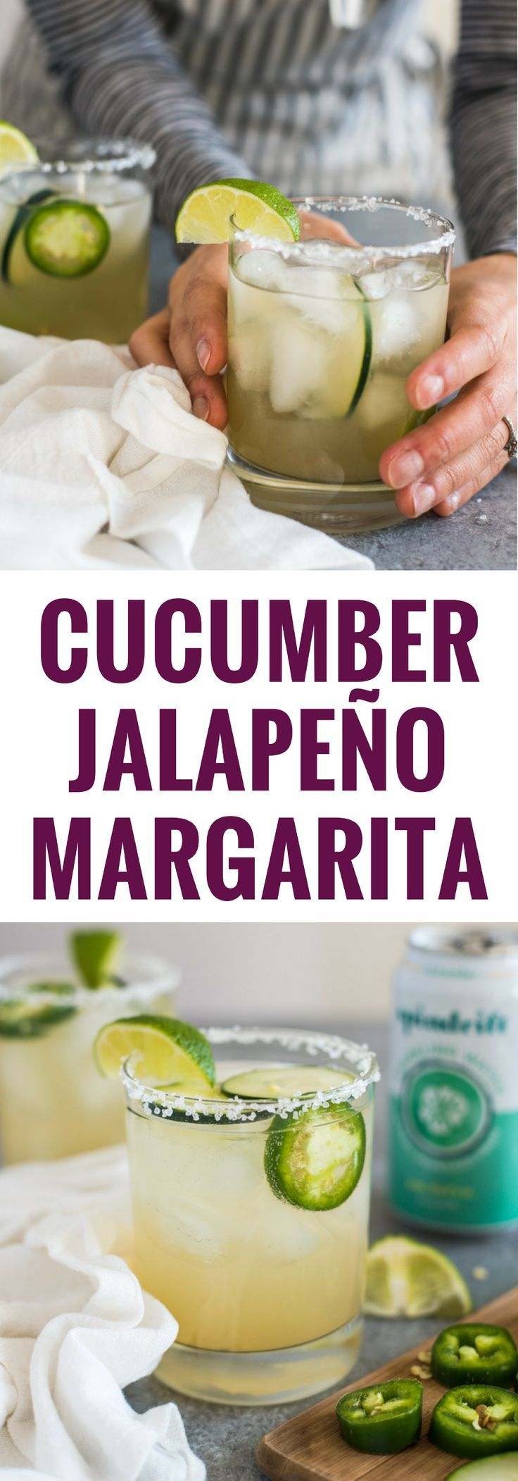 A Cucumber Jalapeno Margarita made with refreshing cucumber sparkling water, fresh jalapeños and organic agave nectar because it's 5 o'clock somewhere!