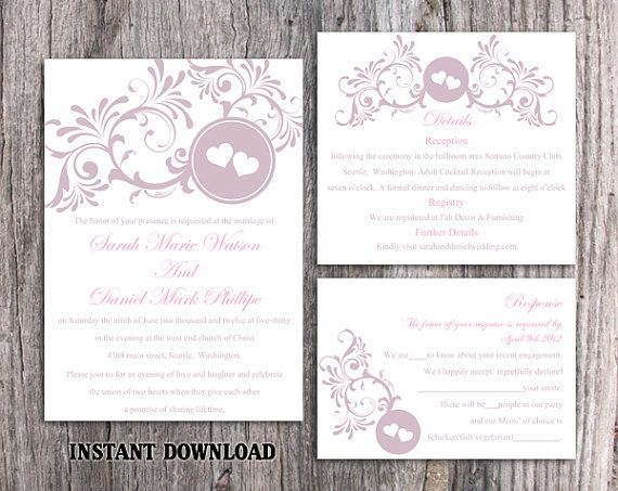 DIY Wedding Invitation Template Set Editable Word File Download - invitation template for word