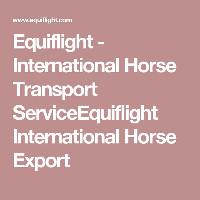 Equiflight - International Horse Transport ServiceEquiflight International Horse Export