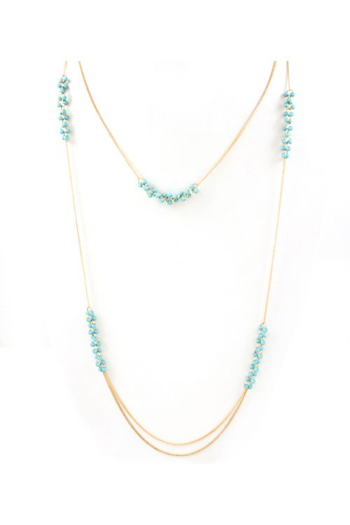 turquoise double chain. like a lot. with a white tshirt? or a black blouse?