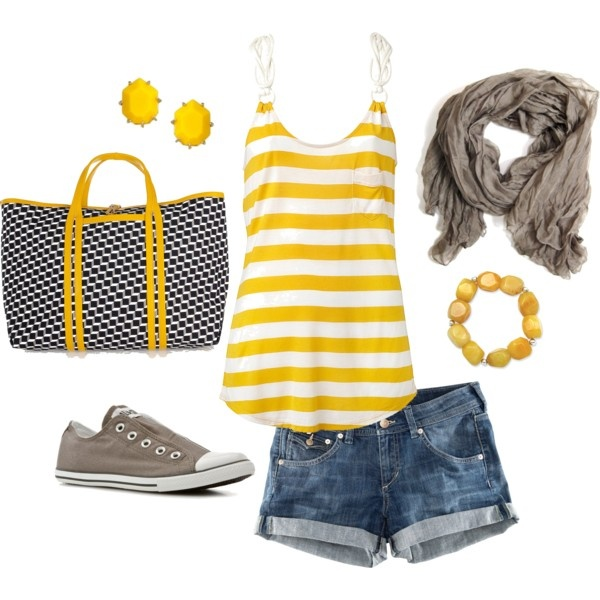 Outfit: Summer Fashion, Yellow Stripes, Summer Looks, Yellow Strips, Cute Summer Outfits, Jeans Shorts, Style Clothing, Summer Clothing, Outfits Summer