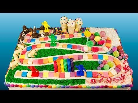How to Make a Candyland Cake from Cookies Cupcakes and Cardio - YouTube (I would love to do this cake but I would use white icing under the rock crystals and snowflakes on Snowflake Lake, add real peanuts around Peanut Acres, and put chocolate frosting under the Chocolate Swamp)
